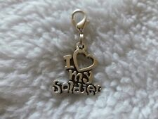 I LOVE MY SOLDIER -  SILVER TONE CLIP ON CHARM....CUTE!!