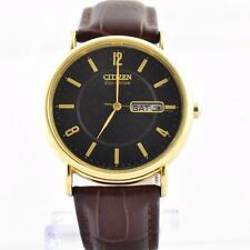 Citizen Men's BM8242-08E Eco-Drive Gold-Tone Watch Brown Leather Band