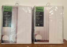 """NEW IN PACKAGE Two Canopy Woven Stripe 52Wx84"""" Sheer Curtain Panels Arctic White"""