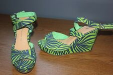 NWOB Women's GAP Blue & Green Ankle Strap Wedge Sandals - 9