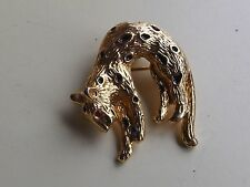 vintage old brooch cat brooch pendant panther gold tone
