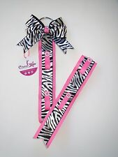 Cheer bow holder / hanger - Pink with black & silver zebra print bow hanger