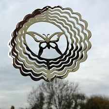 NEW SILVER METAL BUTTERFLY SPINNER HANGING MOBILE