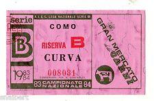 CALCIO   BIGLIETTO  TICKET   COMO    RISERVA  B  CAMPIONATO 1983/84