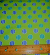 1 yard of PURPLE and TURQUOISE STRIPED DOTS on LIME 100% Cotton Fabric