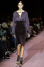 YSL Tom Ford Runway Editorial Black VELVET Pencil Tailored MIDI Skirt 36Fr/XS-S