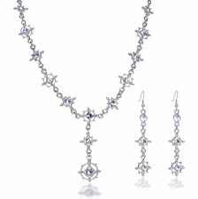 Baroque SET Gothic Crystal Clear White Collier Earrings Bride