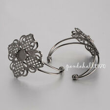 1x Black Tone Brass Filigree Flower with Flat Round Tray Cuff Bangle Blanks 63mm