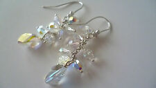 STUNNING SOLID STERLING SILVER 925 EARRINGS GENUINE SWAROVSKI CRYSTAL AB