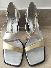 $425 WOMENS GOLD, SILVER & PEARL WHITE LEATHER SANDALS by VICINI sz 36 ITALY