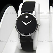 Men's Movado MODERNA MODERNO MUSEUM Stainless Black Leather Swiss Quartz Watch