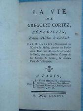 ANSART (Ordre de Malte) : LA VIE DE GREGOIRE CORTEZ évêque d'Urbin, 1786.