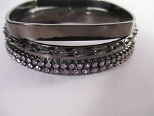 JOOMI LIM Antique Silver Double Crystal Row Bangle Bracelet set of 3 NWOT $295