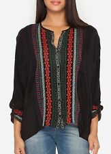 $245 JOHNNY WAS MELVIN BUTTON DOWN EMBROIDERED TUNIC TOP BLOUSE BLACK SZ L XL