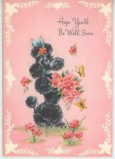 VINTAGE FRENCH BLACK POODLE DOG FLOWERS BUTTERFLY PRINT 1 TEDDY BEARS DRESS CARD