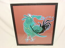 VTG CRAZY ROOSTER FIGHTING COCK BIRD WALL ART EXPRESSIONIST PAINTING FOLK DECOR