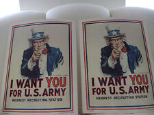"""""""I Want You for U.S. Army"""" 11""""x14"""" Recruiting Posters(2 TWO)JAMES M. FLAGG NEW"""