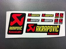 Kit 10 Adesivi Stickers AKRAPOVIC Racing Kawa resistente al calore