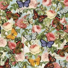 Lula Bijoux Butterflies & Roses Spring Colorful 100% Cotton Fabric by the Yard