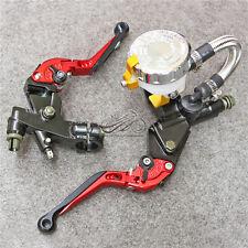 7/8'' Clutch Brake Levers Master Cylinder Reservoir Set For Honda Motorcycle New