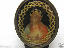 "† NUN'S ANTIQUE EX VOTO ""SACRED HEART OF JESUS"" RELIC GLASS DOMED BRASS SHRINE †"