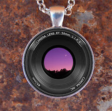 HOT Vintage Camera Lens Cabochon Silver plated Glass Chain Pendant Necklace #6