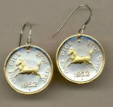 Gold on Silver Coin Earrings, India 1 pice, Horse, 121ERSS