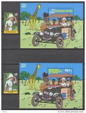 Belgium**TINTIN in AFRICA-2 SHEETS + 2 stamps-Belgium+Congo-CARTOONS-BD