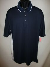 Ultra Club Polyester  Navy/ White Solid Size L Short Sleeve POLO NEW