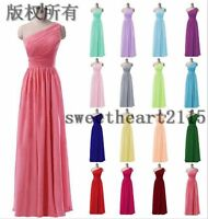 New One Shoulder Strap Wedding Bridesmaid Prom Evening Dress Stock Size 6-22