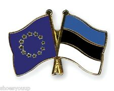EU European Union & Estonia Flags Friendship Courtesy Enamel Lapel Pin Badge