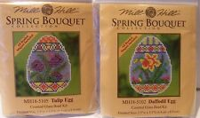 """Cross Stitch KitS by Mill Hill """"DAFFODIL EGG"""" and """"TULIP EGG""""- MH18-5102 & 5105"""