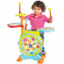 Kids Electronic Toy Drum Set with Adjustable Sing-along Microphone and Stoo
