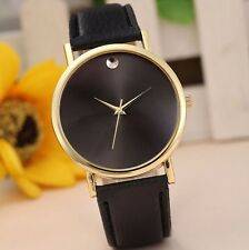 Best Seller Gold Stainless Black Leather Men Women Dress Fashion Quartz Watch