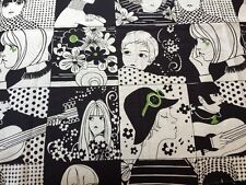 RPE520B Mod Girls 60s Fashion Girls Style Kitschy Cotton Fabric Quilt Fabric