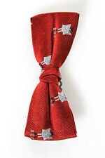 Band Of Outsiders Red Silk B.O.O. Print Clip On Bow Tie New 95868