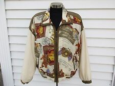 Vintage 80s Silk Bomber Jacket East West Silks French Wine Chocolate L