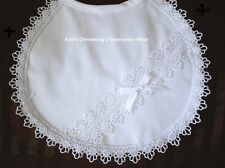 Girls White Christening Baptism Bib w/ Lace Edge & Bow BB3