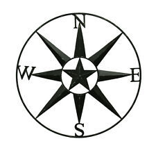 Compass Rose Western Star Black Distressed Metal Wall Hanging 36 Inch