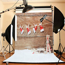 3x5FT Christmas Hat Wood Wall Studio Prop Photography Background Photo Backdrop