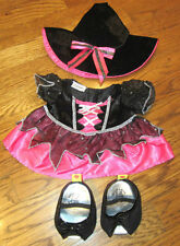 Build a Bear Witch Outfir Set Costume Hot Pink and Black Heels Shoes Halloween