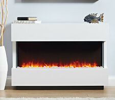 ELECTRIC WHITE SURROUND MODERN LED 2KW FLAME PEBBLE FIRE FIREPLACE SMALL SUITE