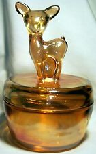 JEANNETTE GLASS CO. MARIGOLD IRIDESCENT BAMBI DEER FAWN COVERED POWDER DISH!