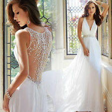 Sexy V Neck Beach Wedding Dresses Backless Bridal Gowns Custom US 2-4-6-8-10-16
