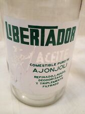 Vintage Liter Glass Bottle Libertador Aceite Ajonjoli Sesame Oil In Spanish