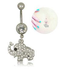 One Steel Elephant Dangle Navel Belly Button Ring Bar Rhinestone Body Piercing