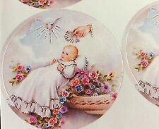 12 Baby On Pillar Peel & Sticker Decal For Baptism, Communion Baby Shower Favors