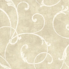 Delicate Scroll Wallpaper in Taupe and Cream per Double Roll  CW9323