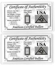 Pure Silver Bar 5 Grain Ingot Collectible Bullion Card Coa Invest Gift Card Lot