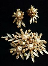 Vintage Signed BEAUJEWELS Brooch & Earring Set, Winter White w/AB Crystal Spray